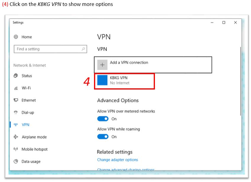Updating a Saved VPN Password in Win 10 – KBKG